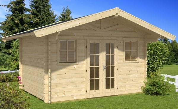 Skan Holz Gartenhaus Davos 1, 380 x 300 cm, 45 mm, unbehandelt