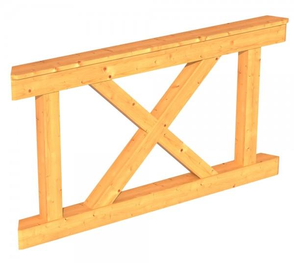 Skan Holz Brüstung 150 x 84 cm, Andreaskreuz, für Pavillon Colmar Größe 2