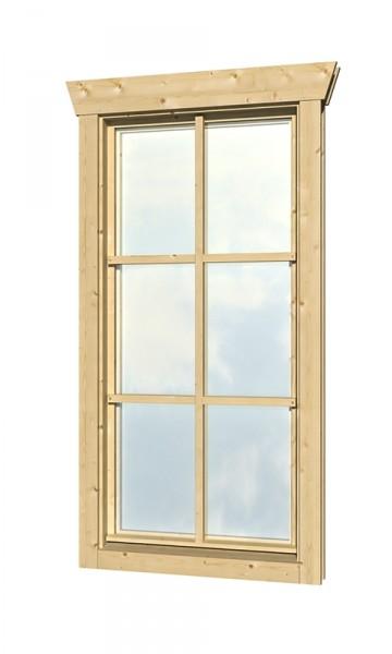 Skan Holz Dreh-Kipp-Einzelfenster 57,5 x 123,5 cm für 28 mm Blockbohlen, Anschlag links