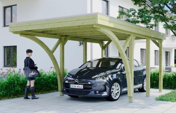 Skan Holz Flachdach-Carport Friesland 314 x 555 cm, Aluminium-Dachplatten, mit 2 Einfahrtsbogen