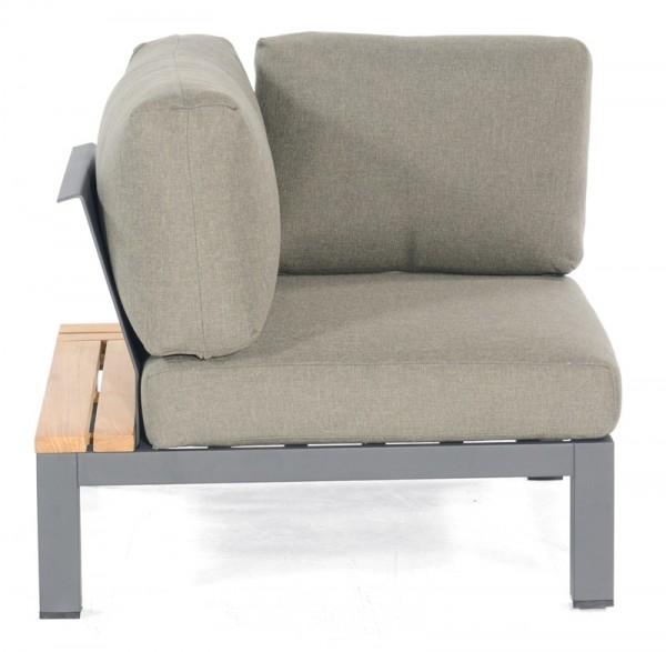 Sonnenpartner Lounge-Eckmodul Equila, Aluminium, anthrazit / Teakholz
