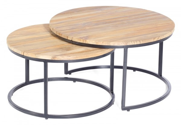 Sonnenpartner Lounge-Tisch-Set Cambridge, Metall anthrazit / Old Teak, Ø 76 / 65 cm