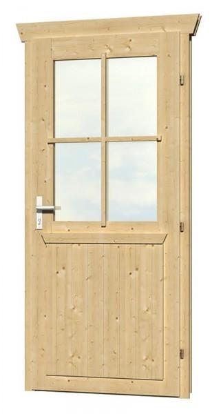 Skan Holz Einzeltür 78,5 x 186,5 cm für 45 mm Blockbohlen, halbverglast