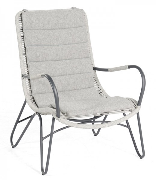 Sonnenpartner Lounge-Sessel Charité, Aluminium / Polyrope silbergrau, inkl. Kissen