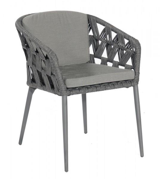 Sonnenpartner Sessel Fairmont, Kunststoffgeflecht Polyrope, schwarz-grau, inkl. Kissen