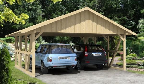 Skan Holz Fachwerk-Carport Schwarzwald, Konstruktionsvollholz, 684 x 600 cm, mit Dachschalung