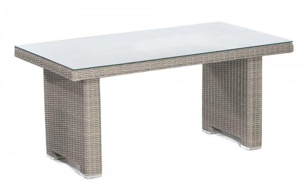 Abbildung zeigt den Tisch mit Kunststoffgeflecht in stone-grey.