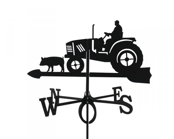 SvenskaV Wetterfahne Traktor groß, schwarz