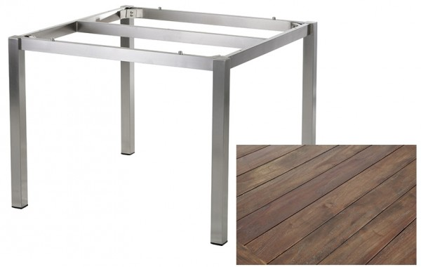 Diamond Garden Tisch San Marino, Edelstahl/Recycled Teak Gealtert, 100 x 100 cm
