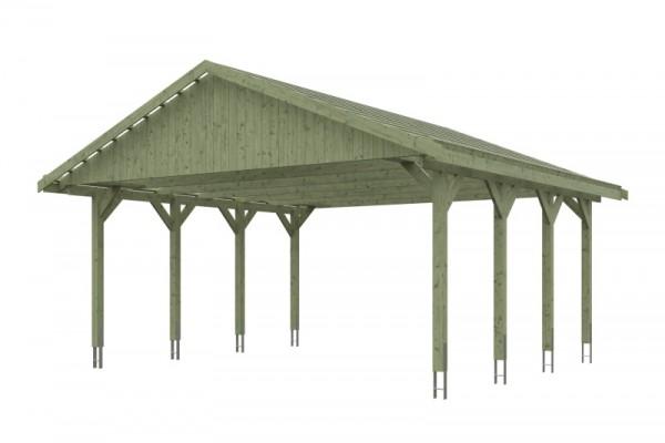 Skan Holz Satteldach-Carport Wallgau 620 x 600 cm, imprägniert