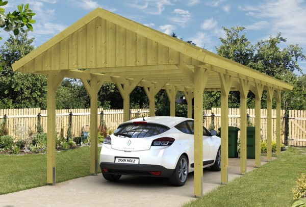 Skan Holz Satteldach-Carport Sauerland 380 x 900 cm, imprägniert, mit Dachlattung