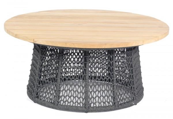 Sonnenpartner Lounge-Tisch Poison, Aluminium anthrazit / Polyrope dunkelgrau / Teakholz