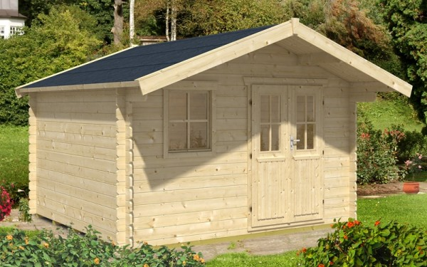 Skan Holz Gartenhaus Malaga 1, 340 x 300 cm, 28 mm, unbehandelt