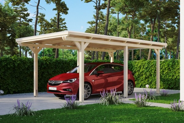 Skan Holz Flachdach-Carport Emsland, Leimholz, 354 x 604 cm, Aluminium-Dachplatten