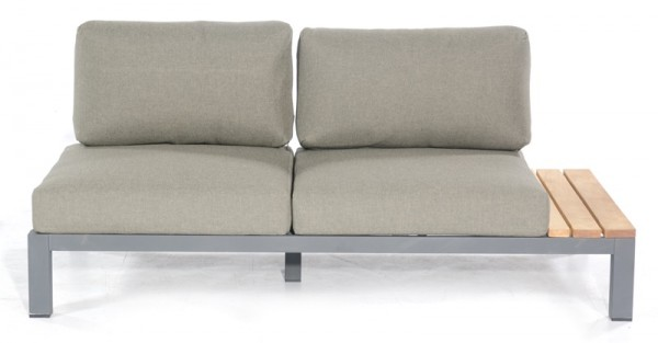 Sonnenpartner Lounge-Eckmodul Equila, 2-Sitzer rechts, Aluminium, anthrazit / Teakholz