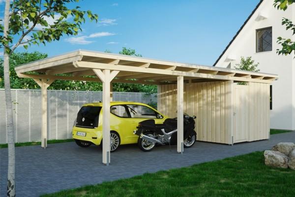 Skan Holz Flachdach-Carport Emsland, Leimholz, 404 x 846 cm, Aluminium-Dachplatten, mit Abstellraum