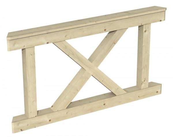 Skan Holz Brüstung 150 x 84 cm, Andreaskreuz, für Pavillon Nice Größe 2