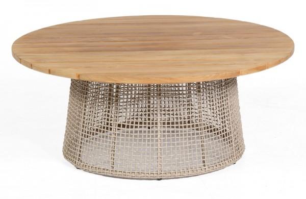 Sonnenpartner Lounge-Tisch Couture, Aluminium anthr. / Kunststoffgeflecht white-shell / Teakholz