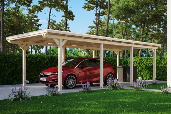 Skan Holz Flachdach-Carport Emsland, Leimholz, 354 x 846 cm, Aluminium-Dachplatten