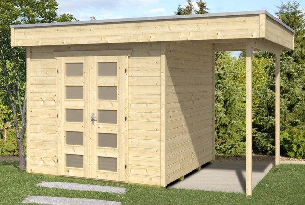 Skan Holz Gartenhaus Venlo 2, 380 x 250 cm, 28 mm, unbehandelt