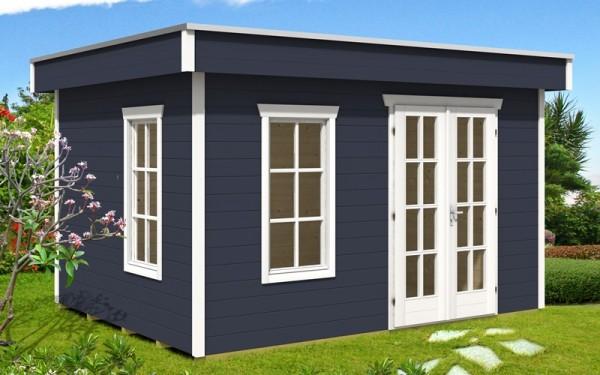 Skan Holz Gartenhaus Breda 1, 380 x 300 cm, 28 mm, schiefergrau