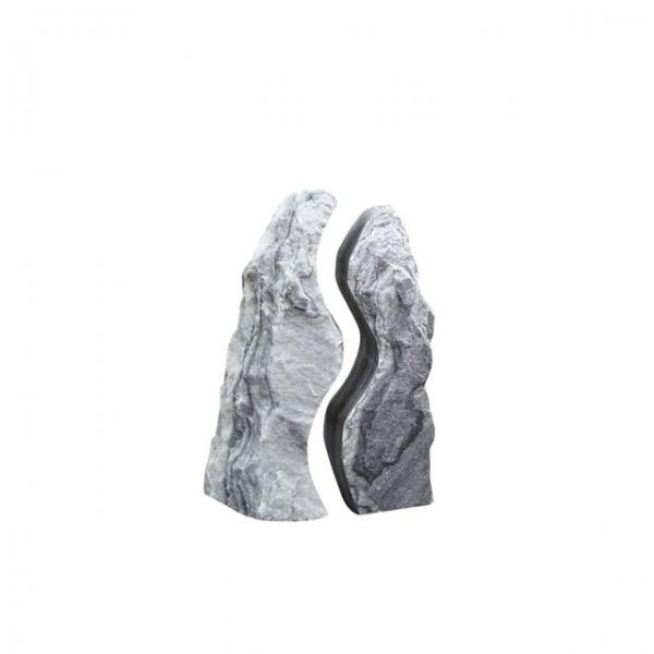 Marmor Wasserspiel Twin Rocks, 80 cm, weiss-grau, ungebohrt