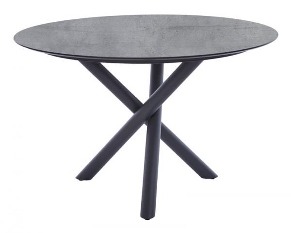 Diamond Garden Tisch San Marino rund, Edelstahl, dunkelgrau/Schalbrett Beton, Ø 120 cm