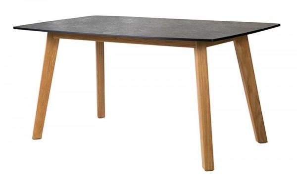 Diamond Garden Low Dining Tisch Memphis, Premium Teak/Schiefer, 139 x 80 cm