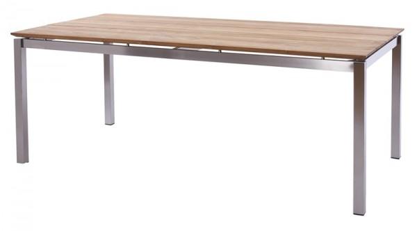 Diamond Garden Tisch San Marino, Edelstahl/3 Planken, Recycled Teak Natur, 200 x 100 cm