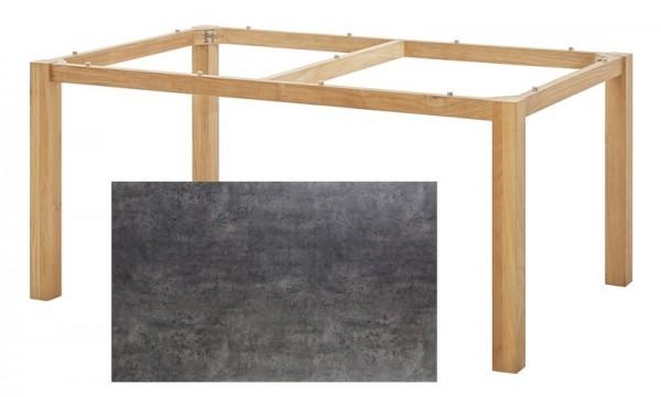 Diamond Garden Tisch San Marino, Premium Teak Natur/Beton dunkel, 160 x 100 cm