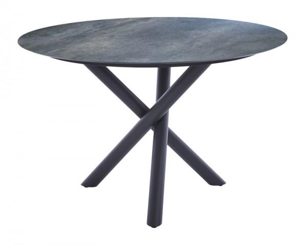 Diamond Garden Tisch San Marino rund, Edelstahl dunkelgrau/Anthrazit Titan, Ø 120 cm