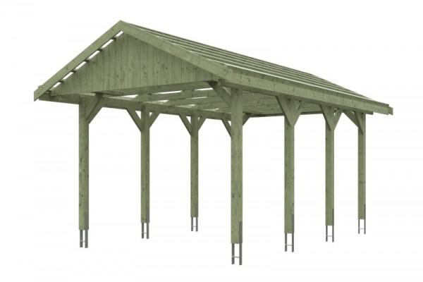 Skan Holz Satteldach-Carport Wallgau 380 x 600 cm, imprägniert
