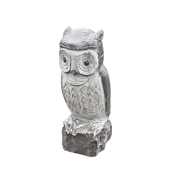 Kalkstein Skulptur Eule, grau-schwarz