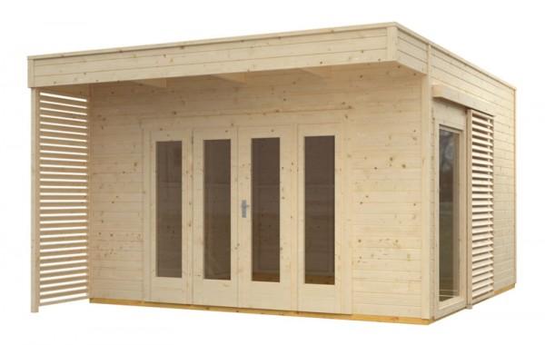 Skan Holz Gartenhaus Tokio 4, 402 x 402 cm, einschalig, unbehandelt