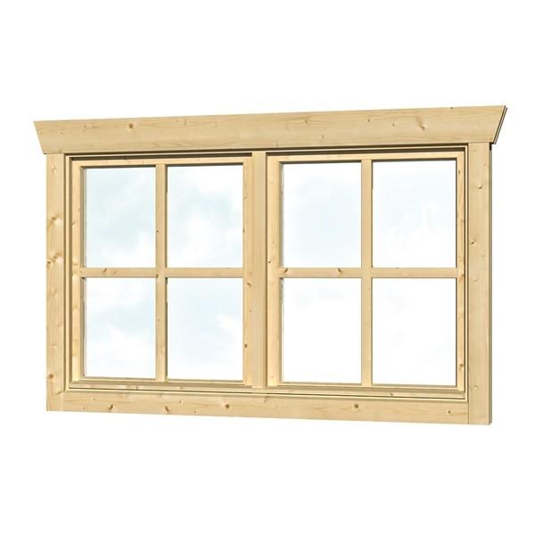 Skan Holz Dreh-Doppelfenster 2 x 57,5 x 70,5 cm für 28 mm Blockbohlen