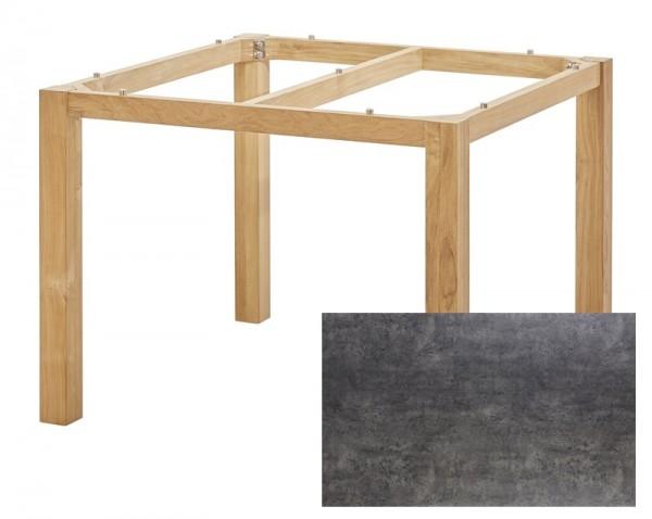 Diamond Garden Tisch San Marino, Premium Teak Natur/Beton dunkel, 100 x 100 cm