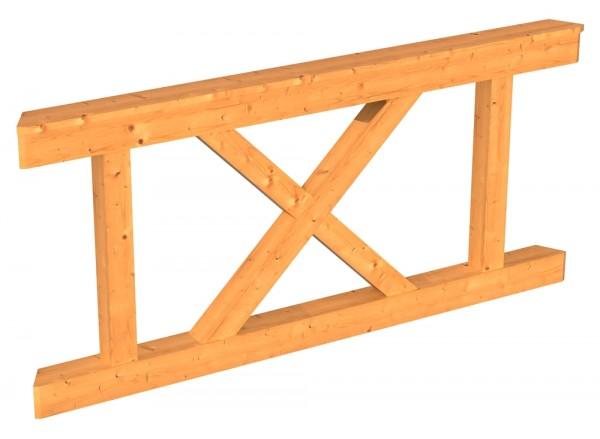 Skan Holz Brüstung 150 x 84 cm, Andreaskreuz, für Pavillon Lyon Größe 2