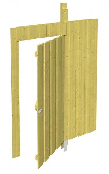 Skan Holz Seitenwand mit Tür 141 x 200 cm, Deckelschalung, imprägniertes Nadelholz