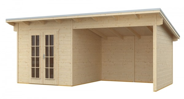 Skan Holz Gartenhaus Texel, 550 x 250 cm, 28 mm, unbehandelt