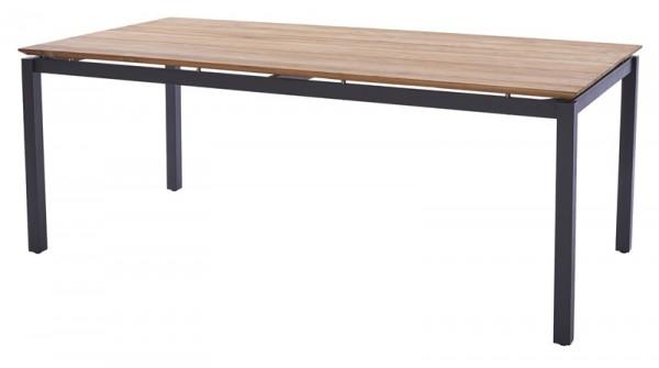 Diamond Garden Tisch San Marino, Edelstahl dunkelgrau/3 Planken, Recycled Teak Natur, 200 x 100 cm