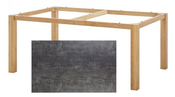 Diamond Garden Tisch San Marino, Premium Teak Natur/Beton dunkel, 200 x 100 cm
