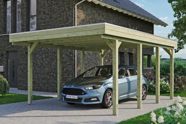 Skan Holz Flachdach-Carport Friesland 397 x 555 cm, imprägniert, Aluminium-Dachplatten