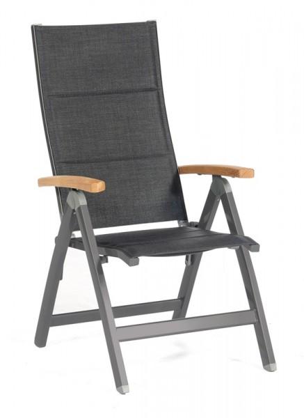 Sonnenpartner Klappsessel Sierra, Aluminium anthrazit / Polstertextilgewebe schwarz / Teakholz