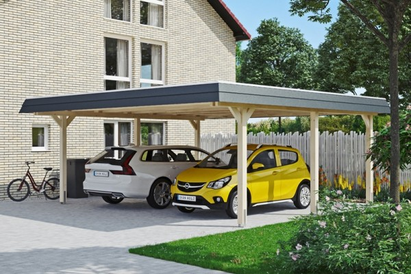 Skan Holz Walmdach-Carport Wendland, Leimholz, 630 x 637 cm, Aluminium-Dachplatten