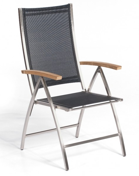 Sonnenpartner Klappsessel Paragon, Edelstahl / Textilgewebe schwarz / Teakholz