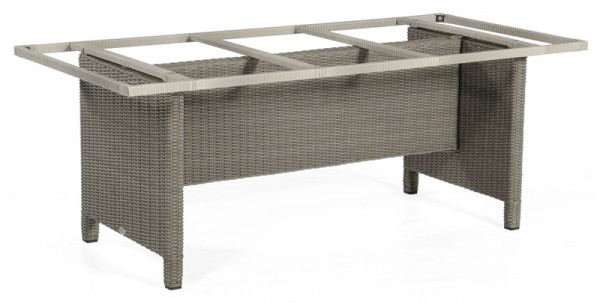 Sonnenpartner Tisch Base-Polyrattan, Kunststoffgeflecht stone-grey, 200 x 100 cm