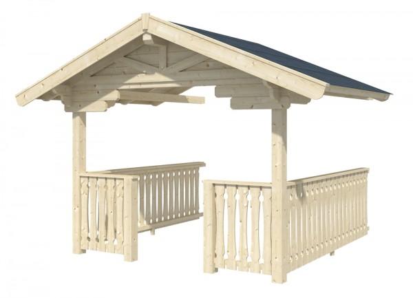 Skan Holz Vordach-Verlängerung mit Brüstung 380 x 300 cm, passend für Modell Davos
