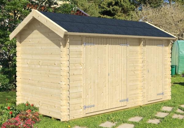 Skan Holz Gartenhaus Flexi 1, 420 x 200 cm, 28 mm, unbehandelt