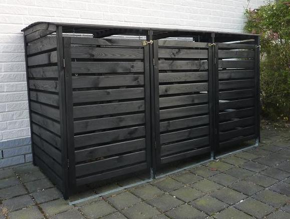 Promadino Mülltonnenbox Vario III für 3 Tonnen, anthrazit