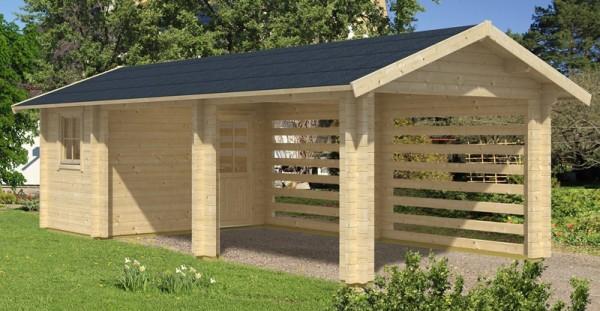 Skan Holz Gartenhaus/Carport Stockholm, 340 x 800 cm, 70 mm, unbehandelt